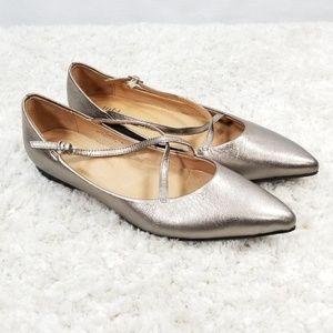 J. Jill Gold Metallic Pointed Toe Flats Size 8.5